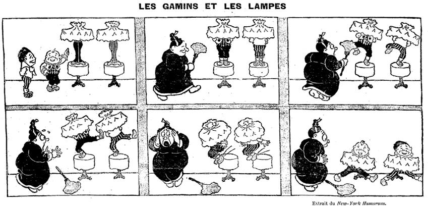 Rudolph Dirks, « Les Gamins et les lampes » [The Katzenjammer Kids], Le Journal pour tous, 15 juin 1899.