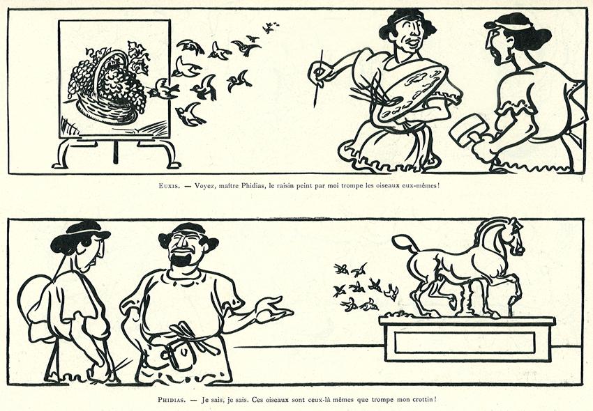 Caran d'Ache, « Zeuxis et Phidias ou Deux Chefs-d'œuvre », Le Canard sauvage, n° 2, 28 mars 1903.