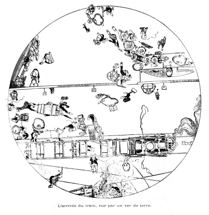 fig-67-larrivee-du-train-vue-par-un-ver-de-terre-le-papillon-10-janv-1900