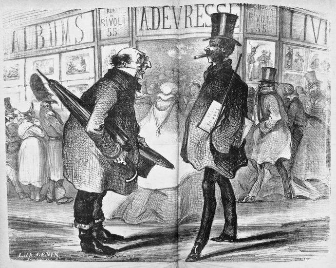 La boutique Arnaud de Vresse à Paris, affiche par Cham, 1858